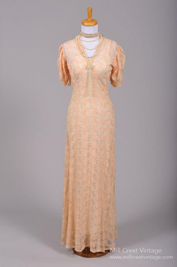1930 Embroidered Peach Vintage Wedding Gown , Vintage Wedding Dresses - 1930 Vintage, Mill Crest Vintage  - 1