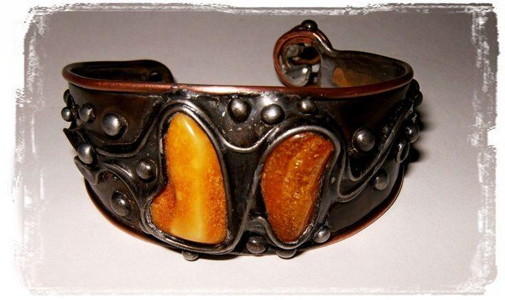 Miedziana bransoleta z bursztynem - Amber-Box - Bransoletki