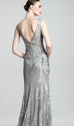 Silver Art Deco Dress Evening Gown