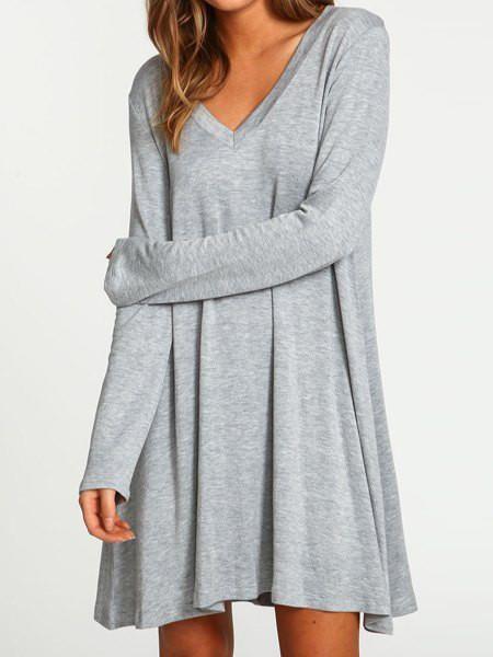 Gray V-Neck Long Sleeve Mini Dress