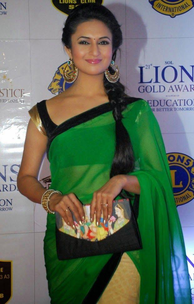 Divyanka Tripathi Saree Stills at Lions Gold Awards 2015 Photos | Bollywood Tamil Telugu Celebrities Photos