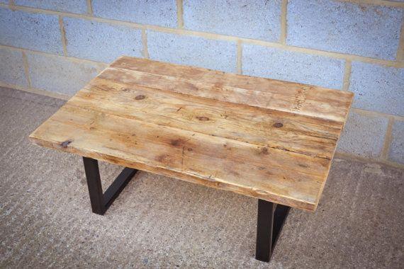 Industrial Reclaimed Coffee Table on Steel Base