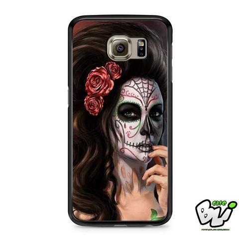 Girl Floral Sugar Skull Samsung Galaxy S6 Case