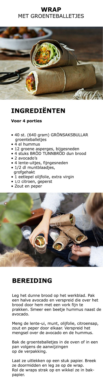 Inspiratie voor Wereld Vegetarisme Dag - Wrap met groenteballetjes | #inspiratie #koken #keuken #salade #groente #groenteballetjes #vega #vegetarisch #humus #asperges #avocado #lenteui #munt