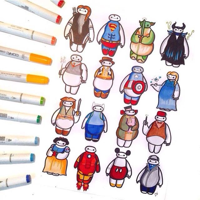 Best Baymax Images On Pinterest Drawings Disney Stuff And - Baymax imagined famous disney characters