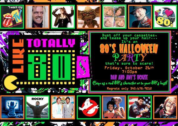 80 u0026 39 s halloween party invitation