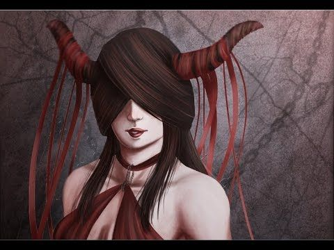 Digital Painting -  Fronti Nulla Fides   #reddress #gothic #digitalpainting #photoshop # horns