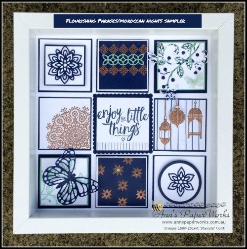 Flourishing Phrases and Moroccan Nights sampler, full tutorial available 2016-17 Stampin' Up! Catalogue Ann's PaperWorks Ann Lewis Stampin' Up! (Aus)| online store 24/7