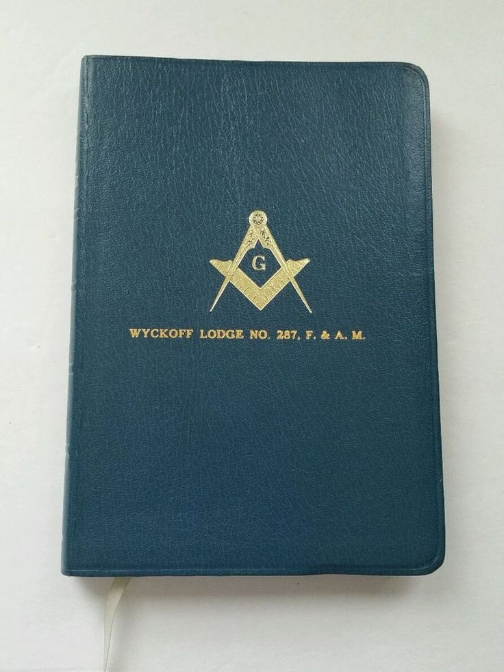 Masonic Bible Lodge Masons Blue Leather Bound Holman Masonry Signed Wyckoff