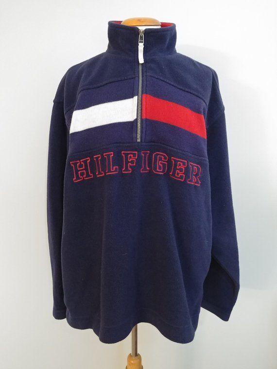 c9b7e30b7f8 Vintage 1990 s Hilfiger Fleece Color blocked Pullover