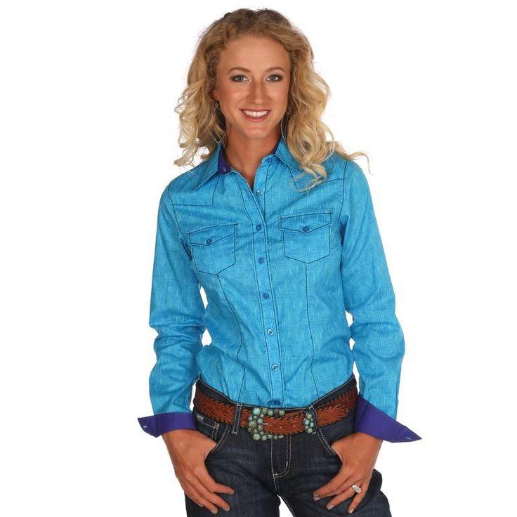 Women's Cruel Girl Turquoise Long Sleeve Button Up