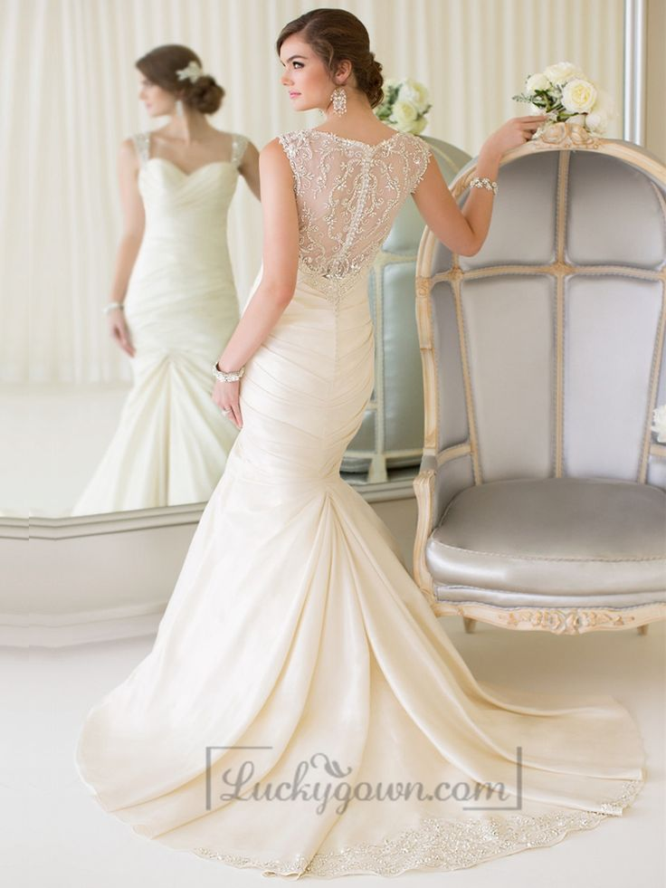 Luxury Beaded Straps Fit and Flare Sweetheart Wedding Dresses with Illusion Back