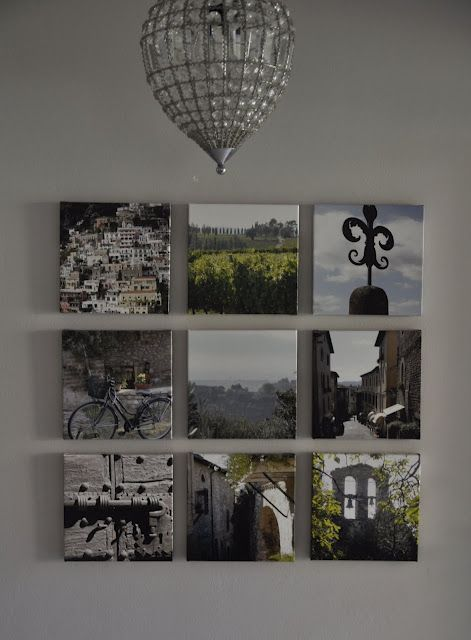 Great way to display vacation or special event photos - grid of small canvas prints