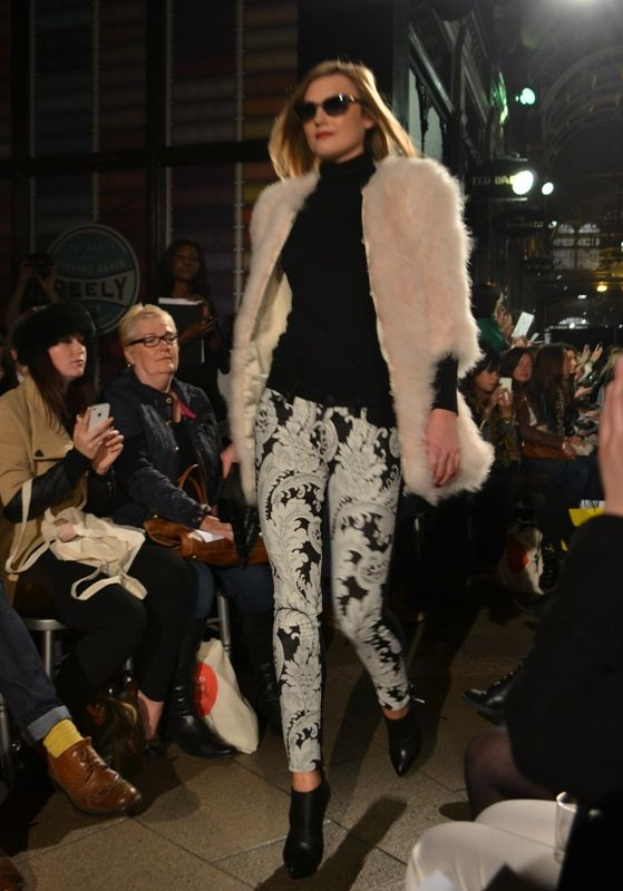 Harvey Nichols Leeds AW13 fashion show. Giorgio Burrito jacket, Pinko jumper, Paige jean, McQ Alexander McQueen shoes, Givenchy bag, D&G sun...