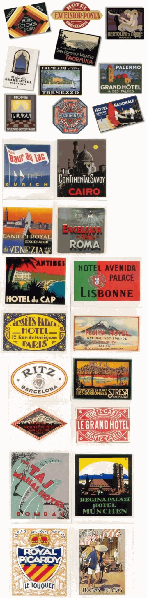 retro luggage labels stickers