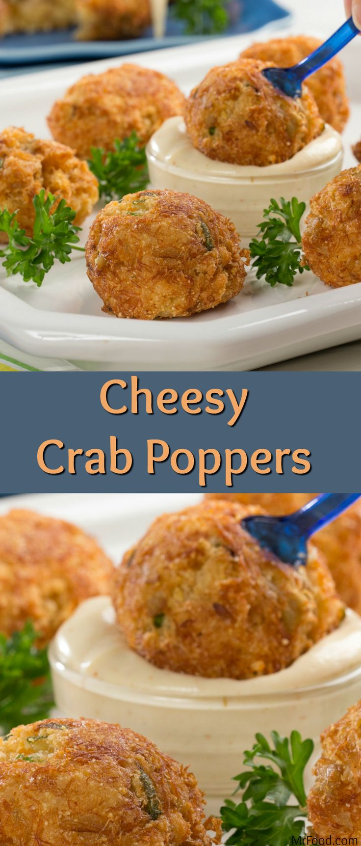 When you're craving the cheesy-fried goodness of a popper, but want something a little different from the average jalapeno popper, make these Cheesy Crab Poppers. They're crispy, cheesy, and have just a light kick to 'em, making them the perfect party appetizer.