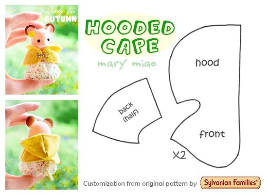 Sylvanian Families Calico Critters DIY miniature FREE clothes pattern hooded cape sewing tutorial - Mantellina in miniatura per bambole, schema cucito *** Video tutorial at https://youtu.be/tGG_JLTxHhs