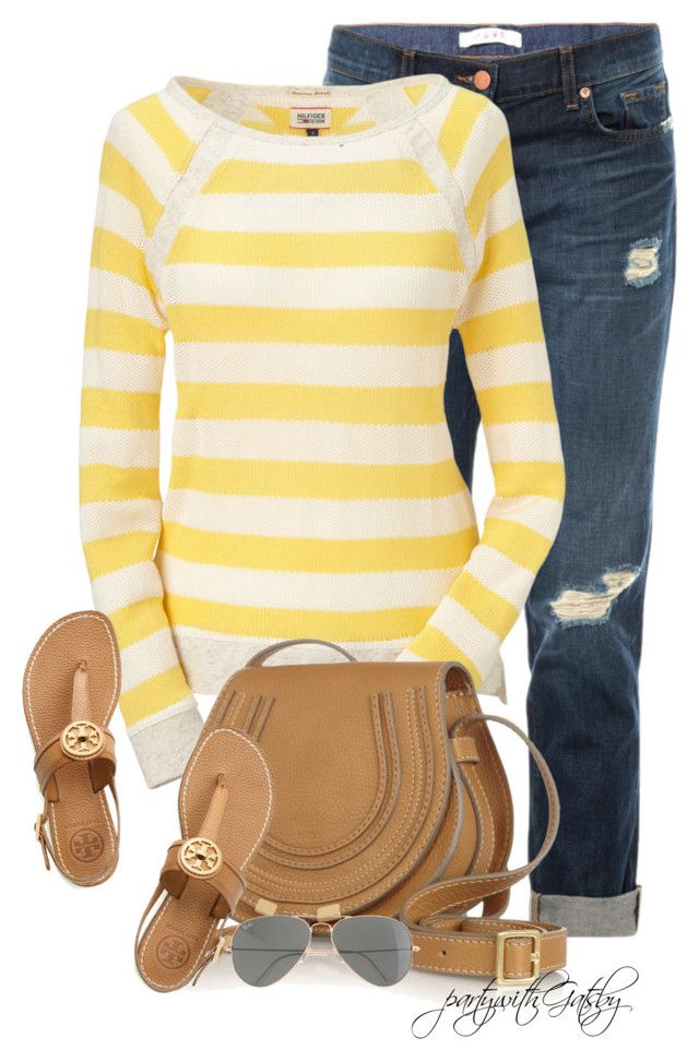 """""""Untitled #598"""" by partywithgatsby ❤ liked on Polyvore featuring J Brand, Hilfiger Denim, Chloé, Tory Burch and J.Crew"""