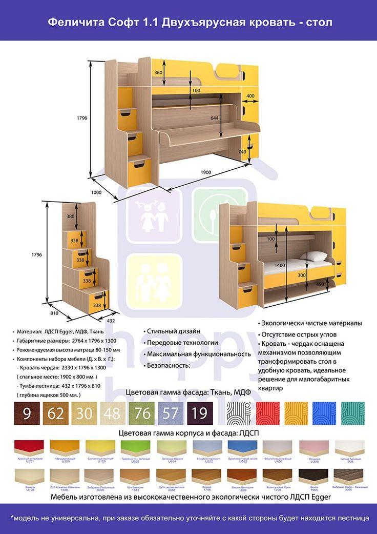 Двухъярусная кровать-стол (трансформер) Felicita Soft 1.1