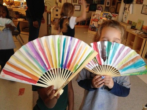 Chinese New Year Painted Fans & Dancing - Fairy Dust Teaching, cut off the black and brown paint for this project. Good idea