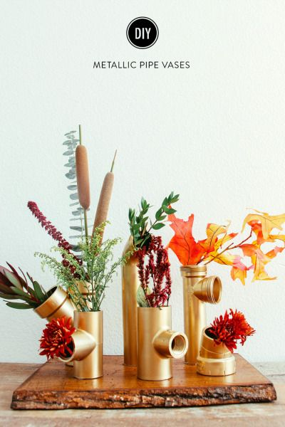 DIY gold pipe vases: http://www.stylemepretty.com/living/2014/11/25/diy-metallic-pipe-vases/ | DIY: The Shift Creative - http://theshiftcreative.com/