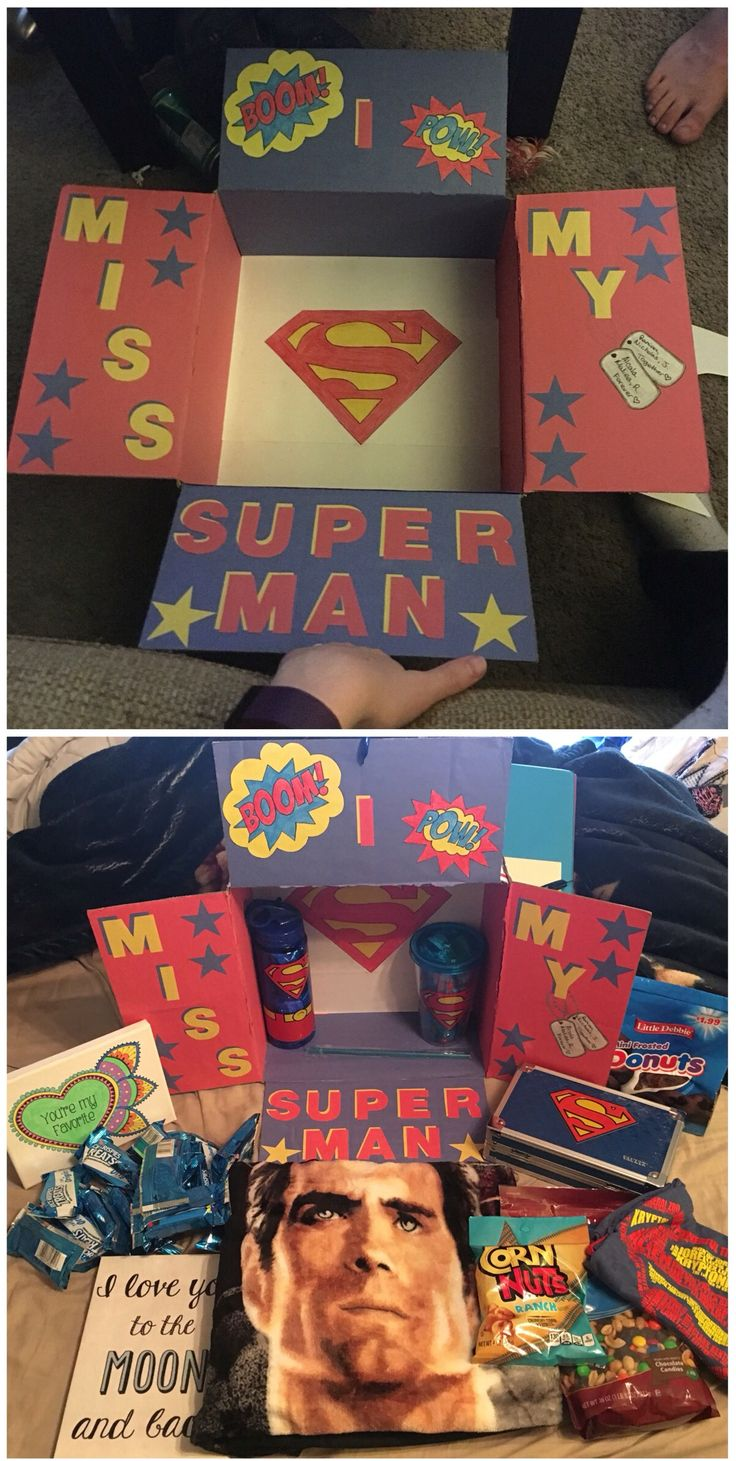 Superman care package for my boyfriend at tech school in the airforce…