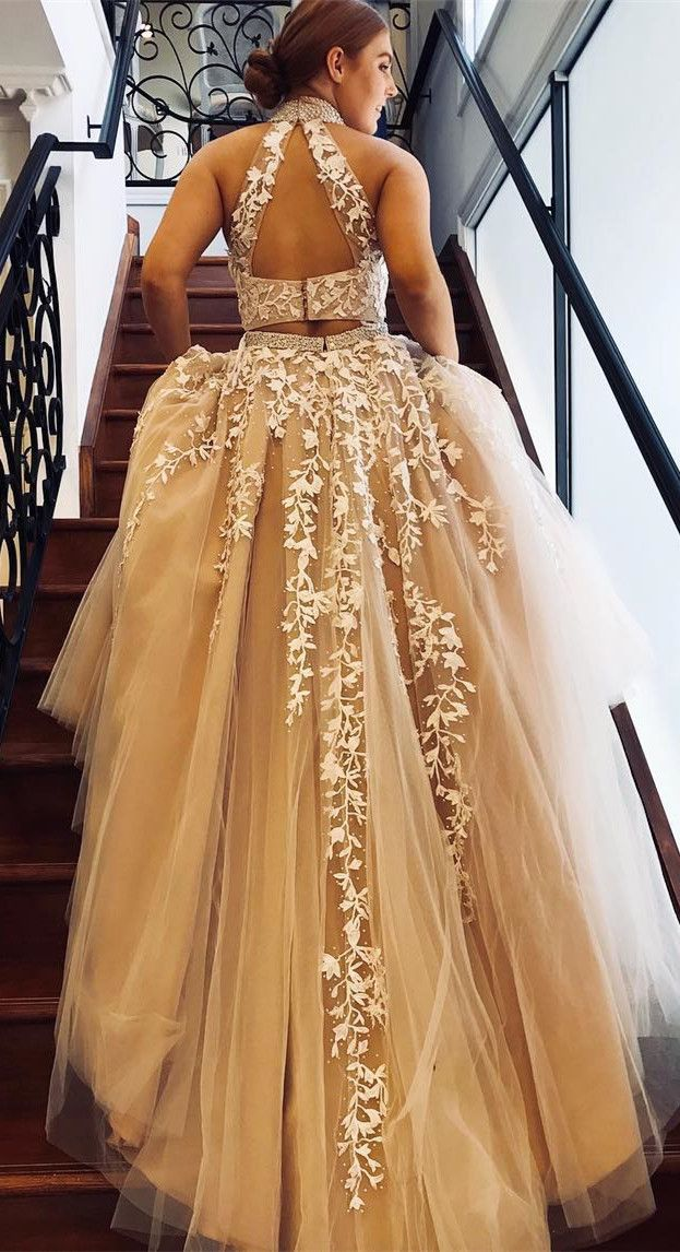 185b49daa7 Elegant Two Piece Champagne and White Long Prom Dress with Open Back ...