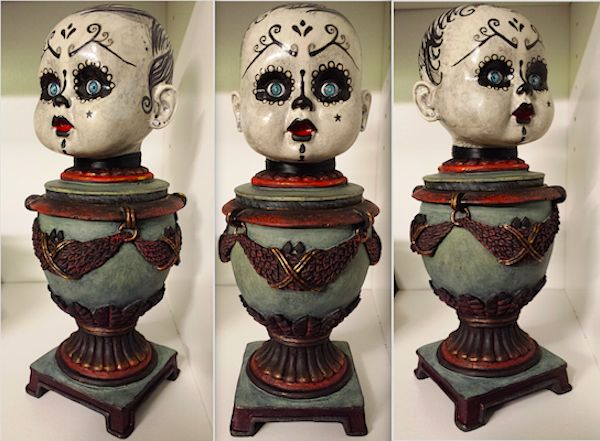 'The Gate Keeper' candy jar by Ellie Gee - MacabreWebs Recycled resin jar/baby doll head. Painted and crackled. 2015