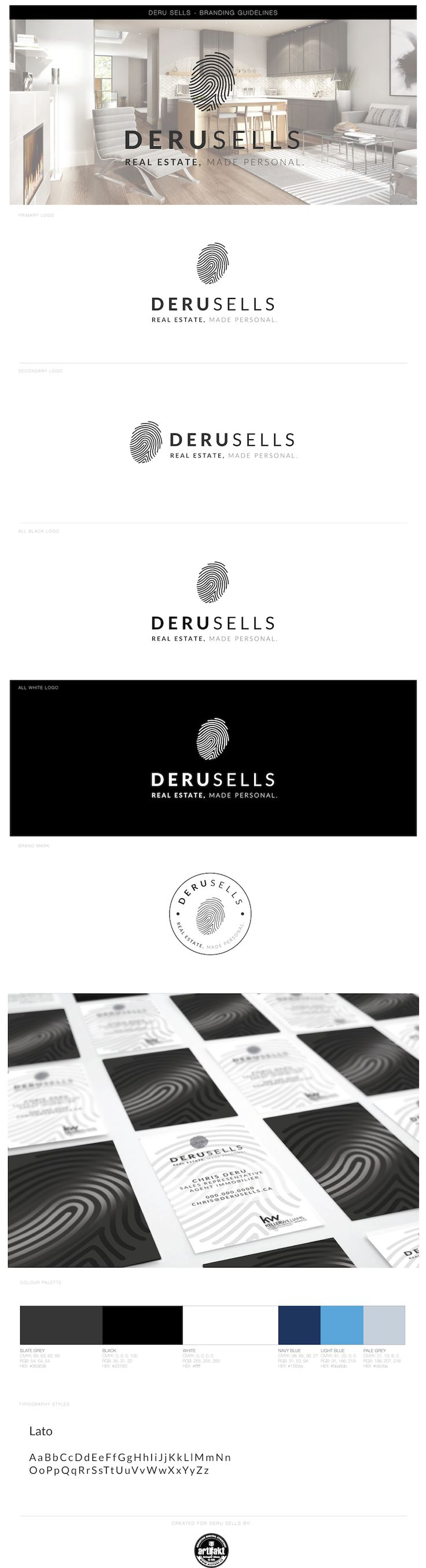 The completed branding guidelines we did for Chris Deru; a real estate agent in Toronto.