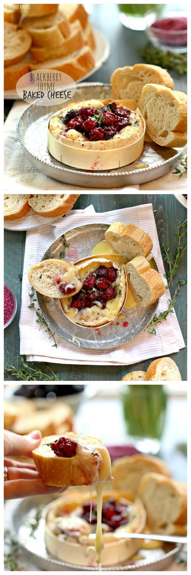 Blackberry Tomillo al horno queso! Hacer con Camembert y Brie, hecho con moras asadas. Un hermoso y delicioso aperitivo o vino maridaje! | El Cookie Rookie