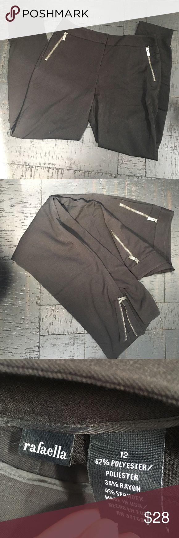 Black pants Black pants with ankle and pocket zipper accents Rafaella Pants