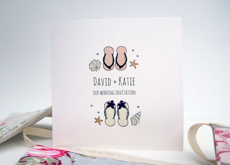flip flop wedding invitations. \u0027beach wedding\u0027 wedding invitation featuring boy and girl flip flops with beach shells flop invitations