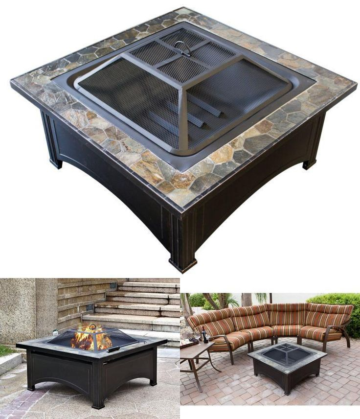 Patio Heaters Fire Pit Wood Burning Square Outdoor Coffee Table Decoration #Hiland