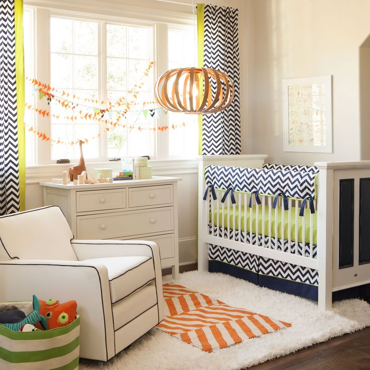 navy and citron zig zag baby crib bedding