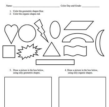 Geometric and Organic Shape Worksheet
