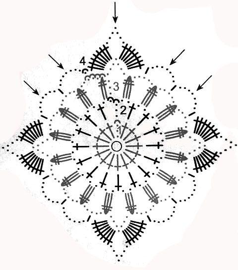 Вязаный топик из мотивов — работа Марии - вязание крючком на kru4ok.ru