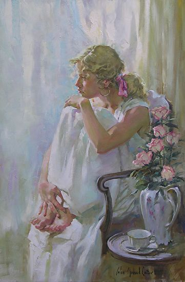 At the window by John Michael Carter ~ 36 x 24