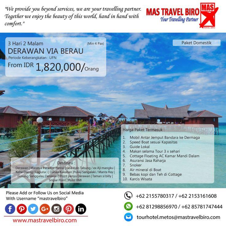 Paket tour ke DERAWAN VIA BERAU 3 Hari 2 Malam, mulai dari harga Rp 1.820.000/Pax. Pesan sekarang di MAS Travel Biro   (Harga tidak termasuk tiket pesawat)   #mastravelbiro #promotravel #travelagent #tourtravel #tourtravelmurah #travelservices #tiketpesawat #travelindonesia #opentrip #familytour