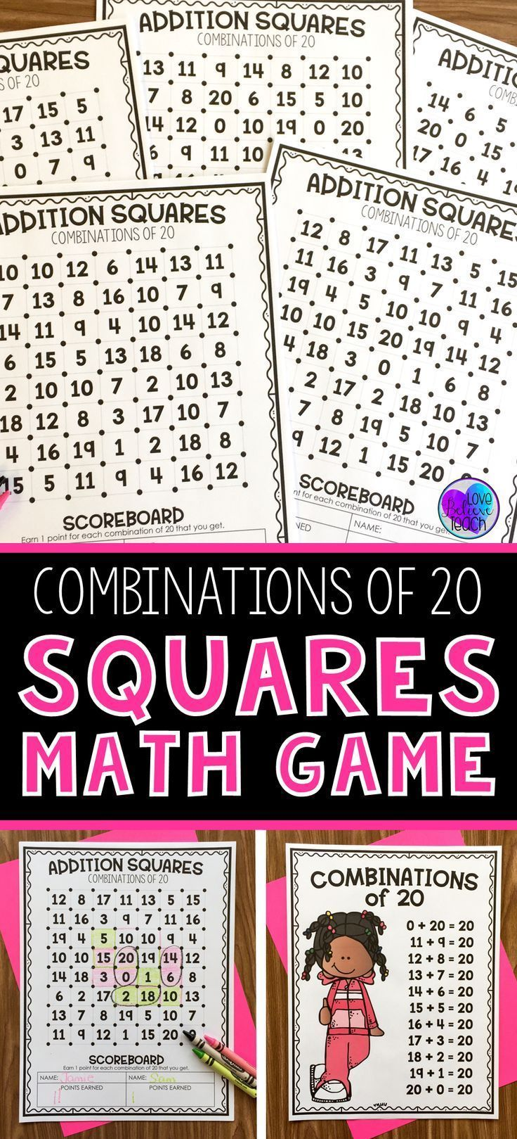 Help Improve Your First Grade Second Grade And Third Grade Students Fact Fluency By Practicing Combinations Of 20 Math Math Games Math Rotations Math Facts Free printable addition squares game
