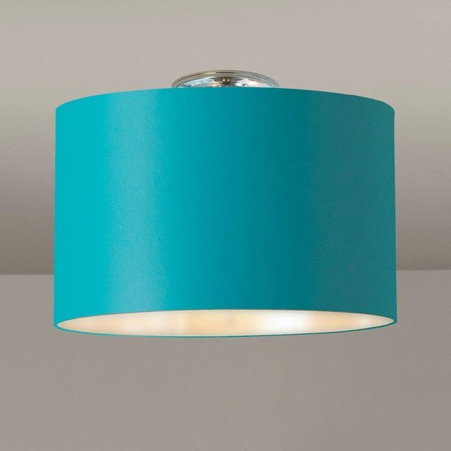 Colored Drum Shade Ceiling Light aquamarine_silver_lining