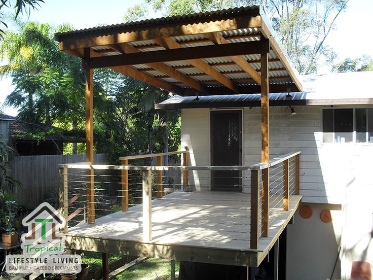 3 X 4m Patio Pergola With Square Posts, Roof Brackets To Attach To House,  Stainless Steel Handrails And Timber Deck | Backyard | Pinterest | Roof  Brackets, ...