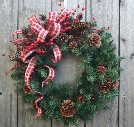 """Christmas Wreath""""Pinecones and Plaid""""Country Christmas- Rustic Wreath-Holiday Decor-Faux Evergreen Wreath-Door Hanger-"""