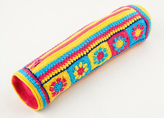 crochet colorful pencil case