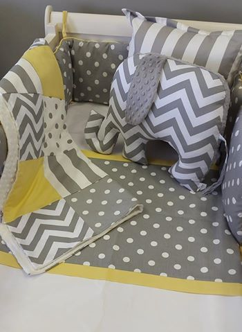 Grey and white Polka Dots, Zig Zags and Stripes, with splashes of sunshine yellow