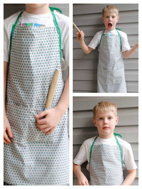 Handmade Gifts For Boys: Mini-me Apron, free pattern fits sizes 5-8yrs