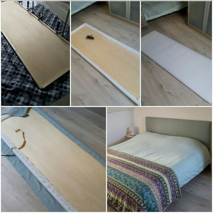 Hoofdbord van houten plaat, fiber fill een stof.
