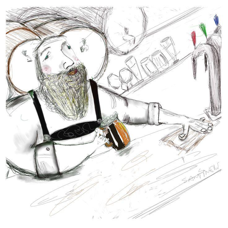 "Ilustración para expo ""Cerveza Belga Artesanal"", la Maison Belge 2012"