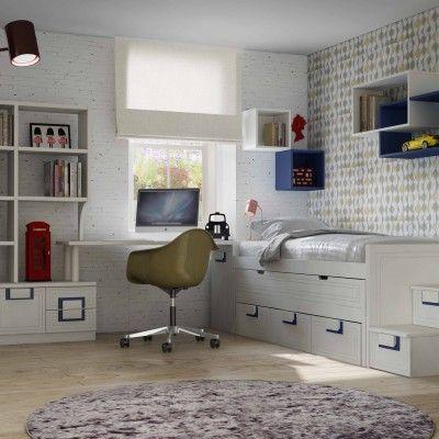 Habitación distribuida con una cama compacto con cajones y otra cama,escalera de cajones y estantería con cajones y puertas debajo