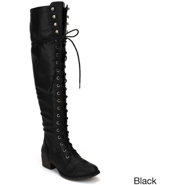 OPPO Breckelle's Women's 'Alabama-12' Elastic Over-the-knee Combat... ($49) ❤ liked on Polyvore featuring shoes, boots, black, over-the-knee boots, military combat boots, over the knee platform boots, combat boots, thigh high lace up boots and black lace