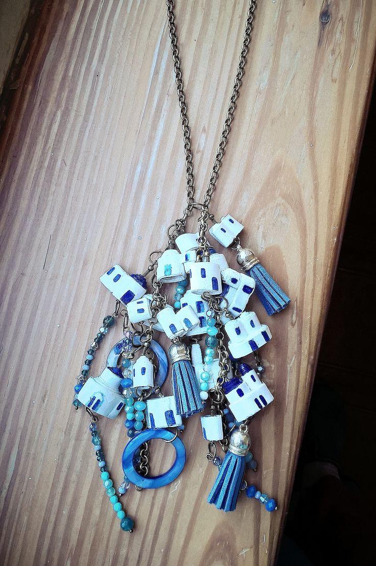 COLLANA SANTORINI catena con pendente a grappolo CARTAGIOE gioielli di carta